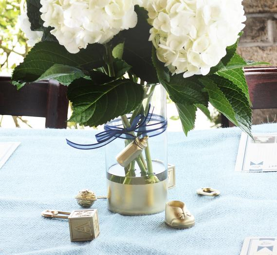 image of adorable gold and blue baby shower