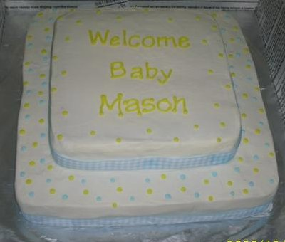 Yellow And Blue Polka Dot Baby Shower Cake picture