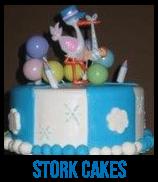 banner of stork baby shower cakes