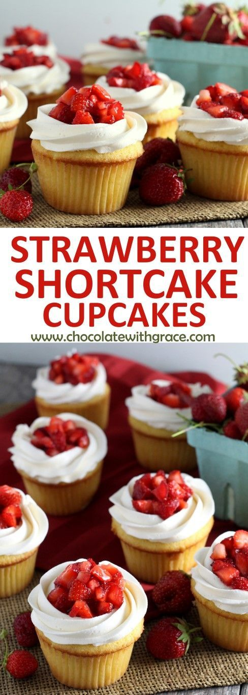 banner of strawberry shortcake cupcakes