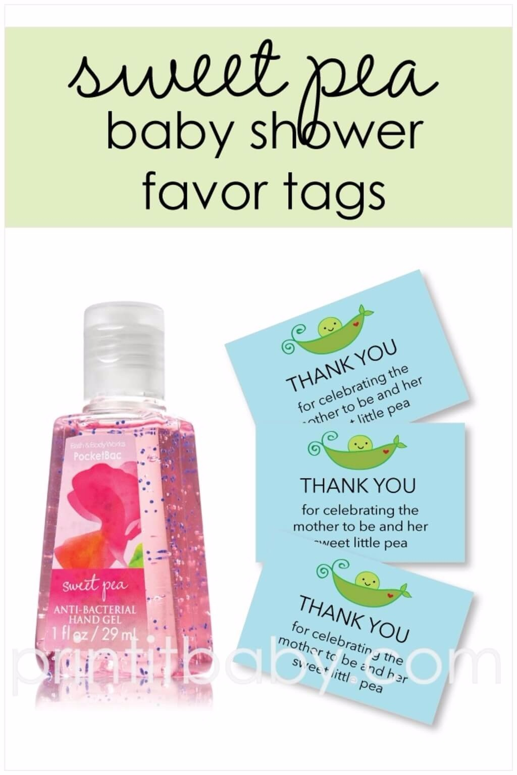 printable blue sweet pea in a pod baby shower favor tags