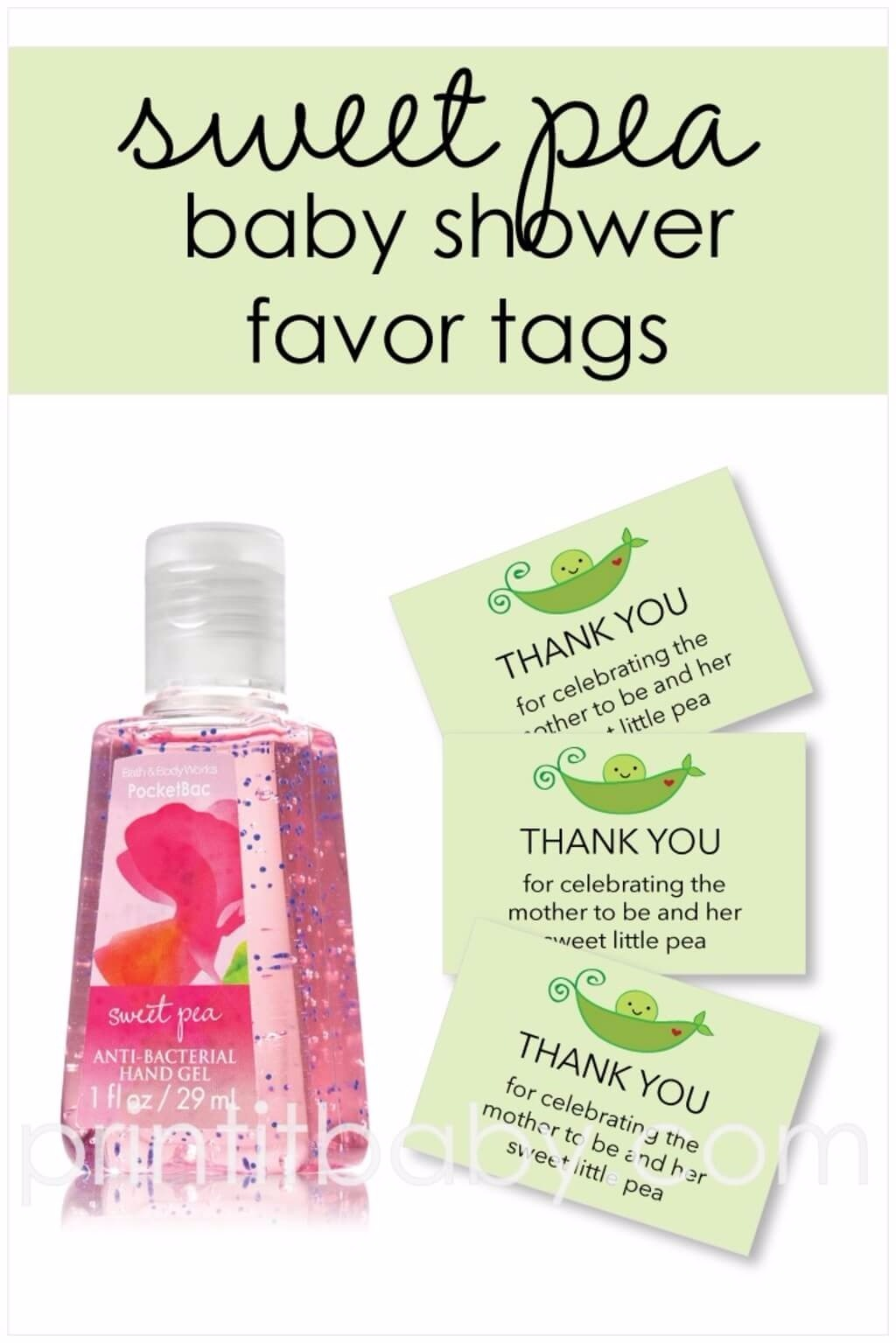 printable green sweet pea in a pod baby shower favor tags