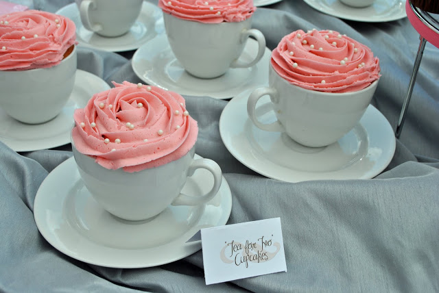 picture of pink tea for two cupcakes for twins