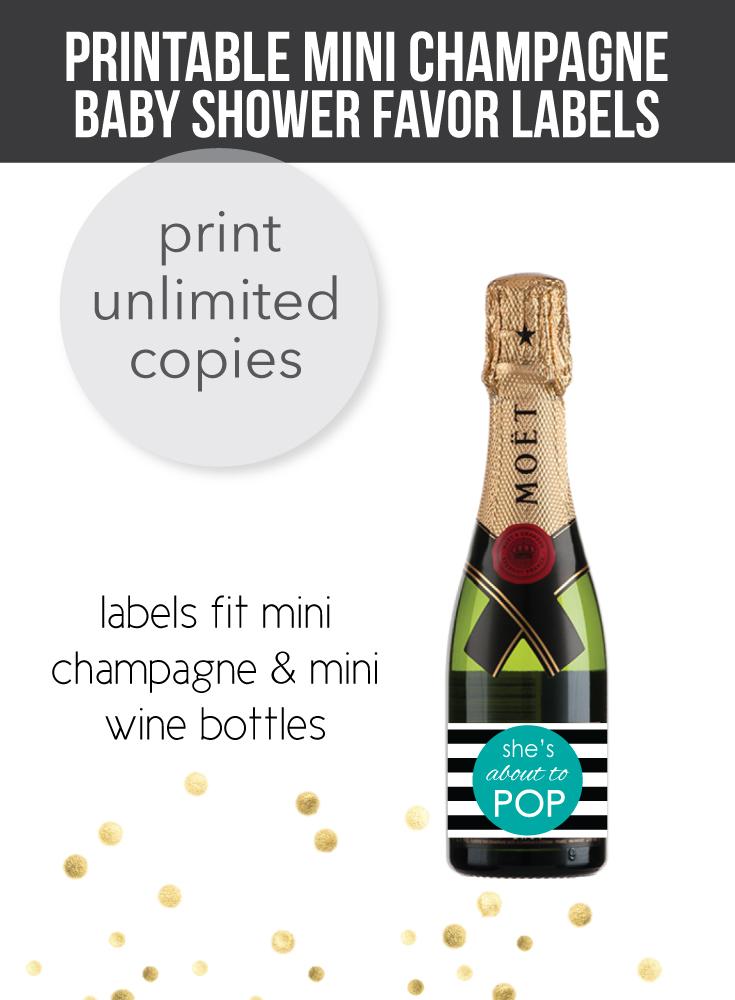 image of baby shower champagne bottle labels teal