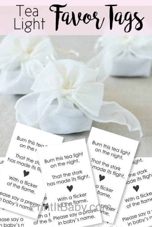 Printable tea light baby shower favor tags