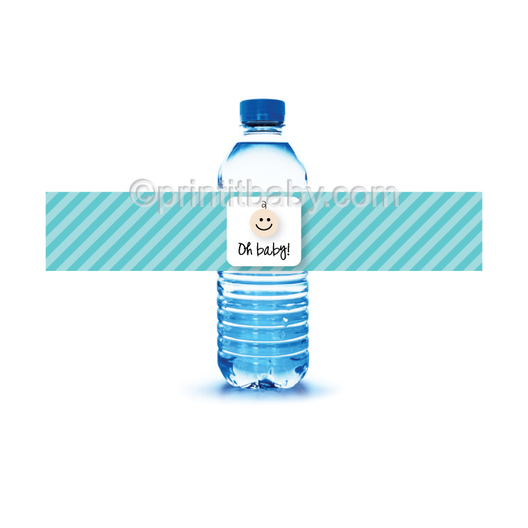 image of blue printable water bottle labels