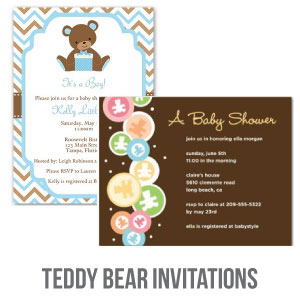 teddy bear baby shower invitations banner