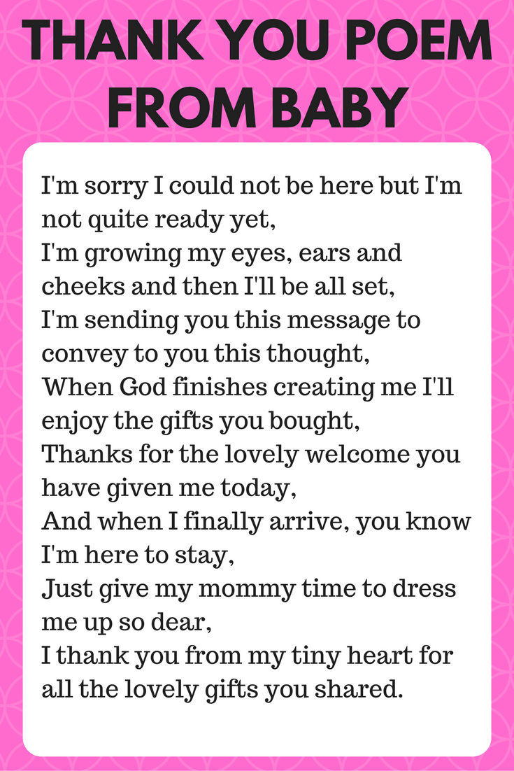 Good Thank You Poem From Baby Wording Sign