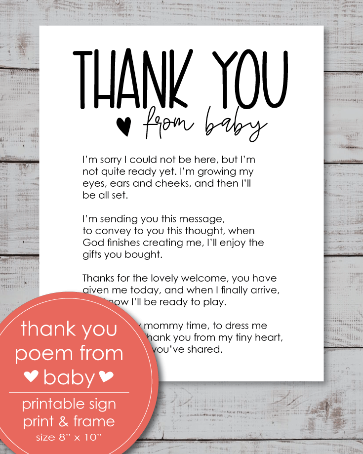 free baby shower thank you poems from unborn baby