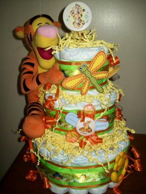 Tigger Baby Shower Diaper Cake