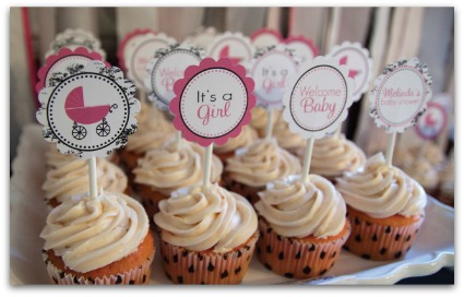 girl baby shower cupcakes image