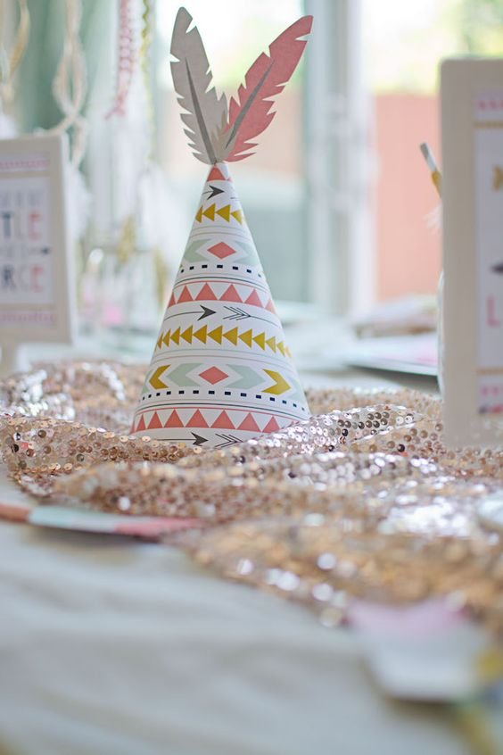 image of a cute boho style tribal hat for a baby shower