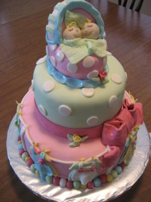 Perfect Picture Of Girl Twins Baby Shower Cake