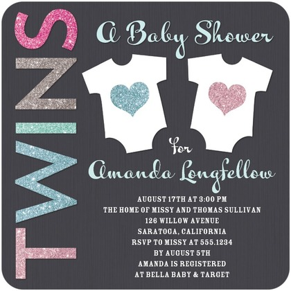 baby shower twins invitation
