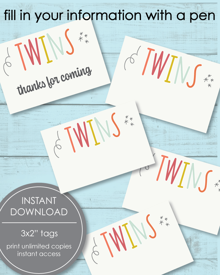 twin baby shower printables