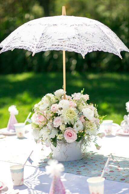 Umbrella baby shower flower arrangement centerpiece picture