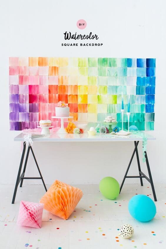 watercolor backsplash for a baby shower or party