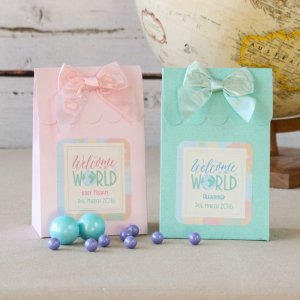 Image of welcome to the world favor boxes