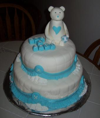 Cute White And Blue Teddy Bear Cake