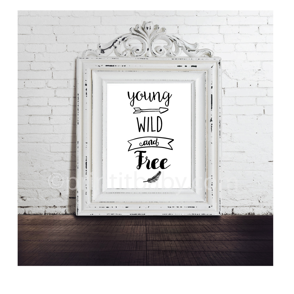 picture of young wild and free baby shower nursery wall art