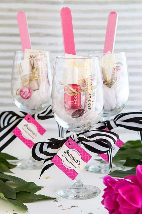 Pink, black and white wine glass favors for a baby shower or bridal shower