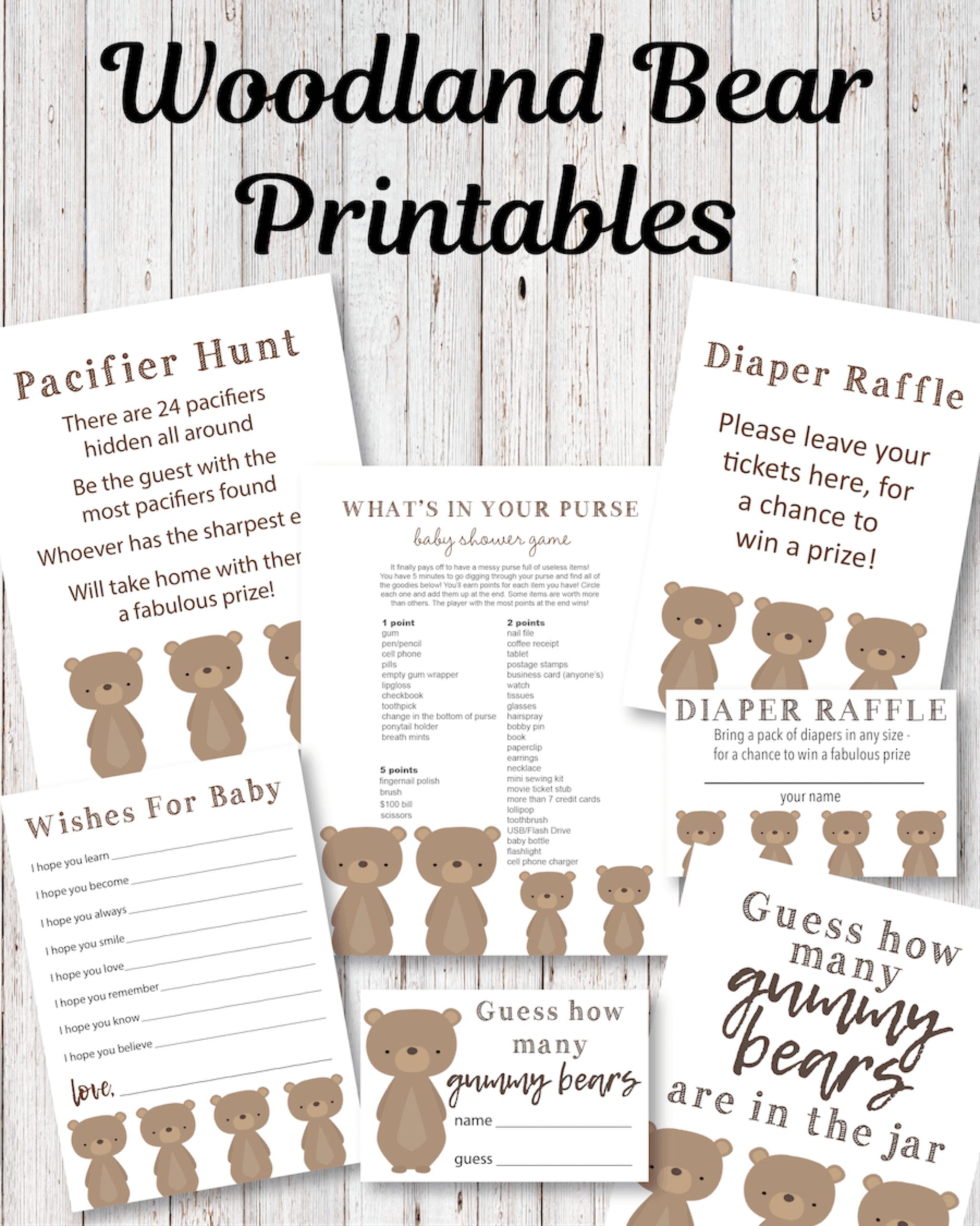 baby shower printable games - bear theme