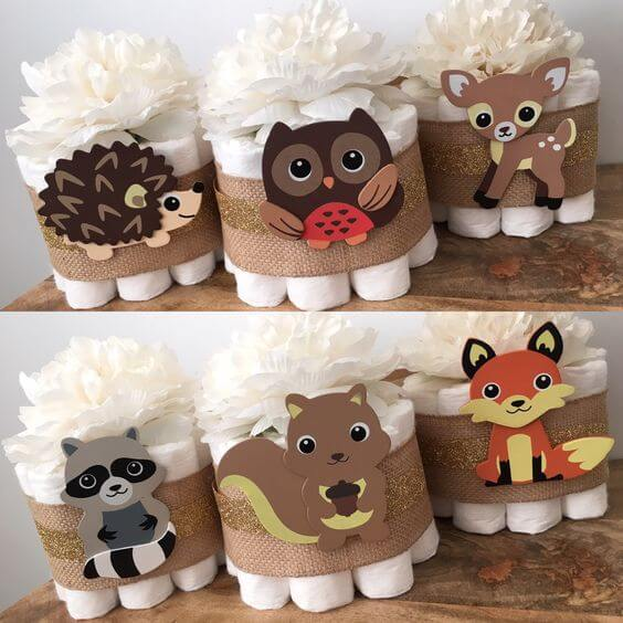 image of Woodland Mini Diaper Centerpieces