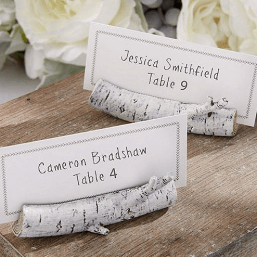 Woodland baby shower birch place card holders