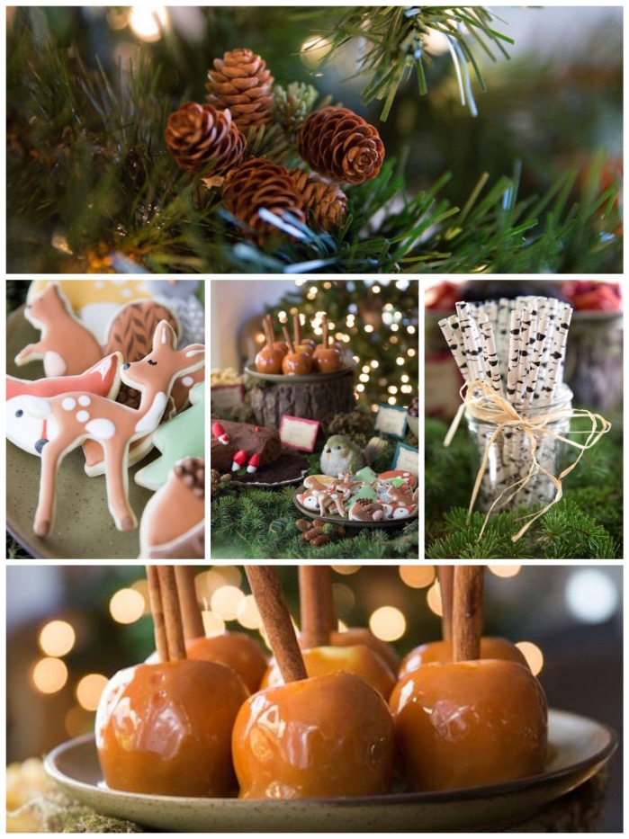 woodland baby shower decorations, food and favors