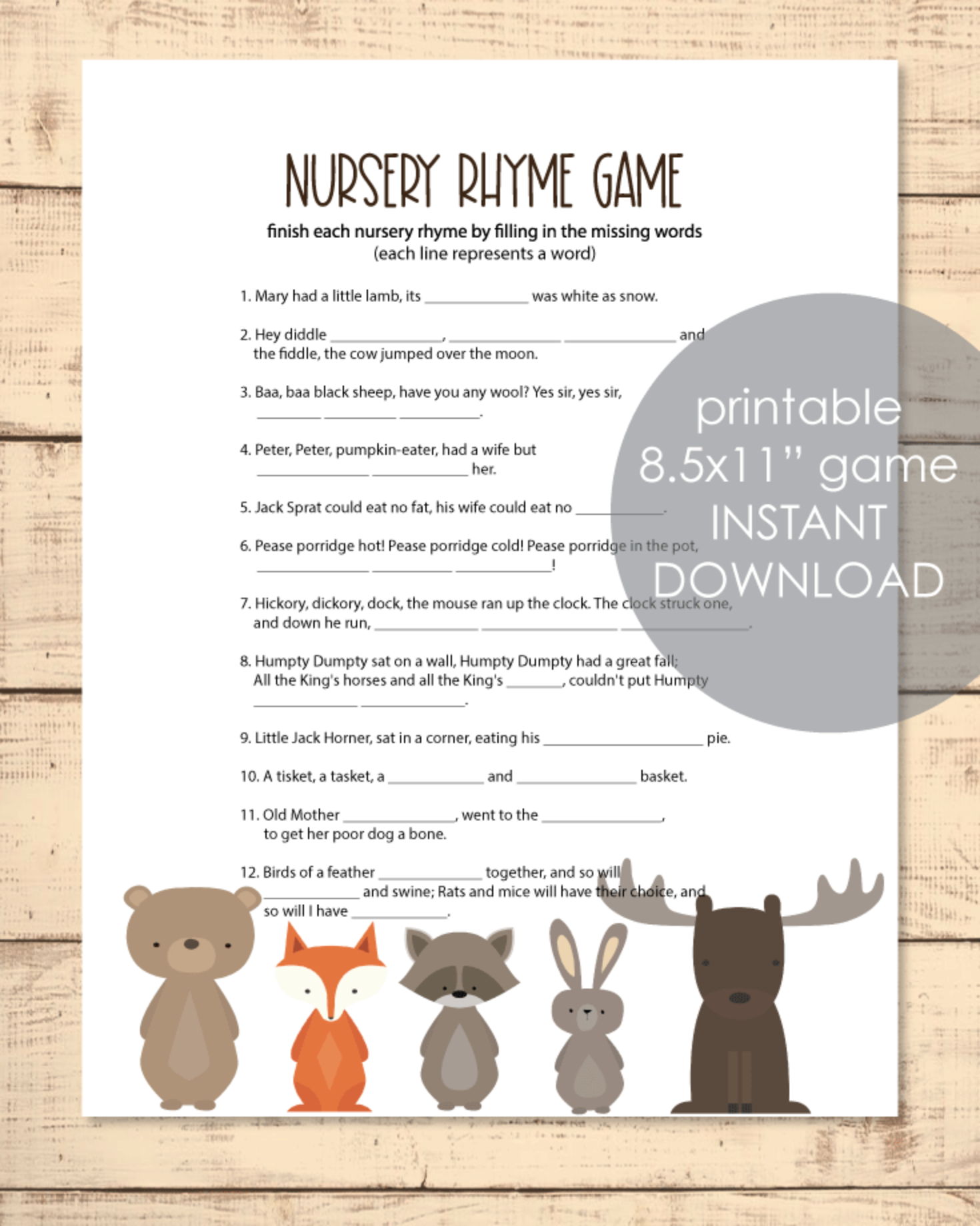 free printable nursery rhyme baby shower game