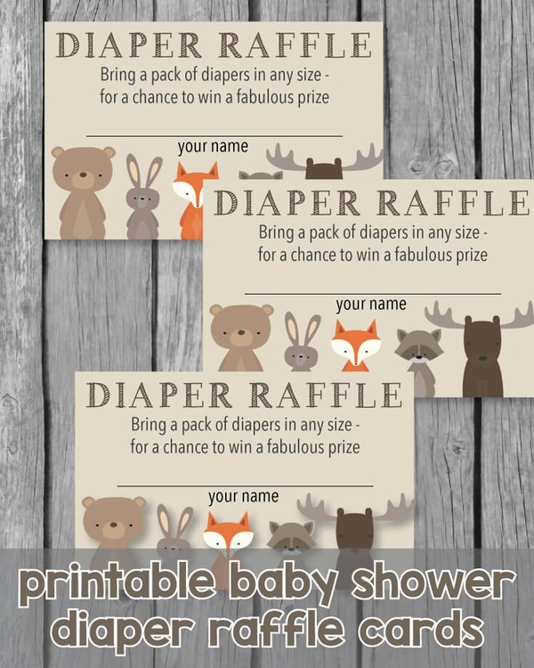 Printable woodland animals baby shower diaper raffle cards