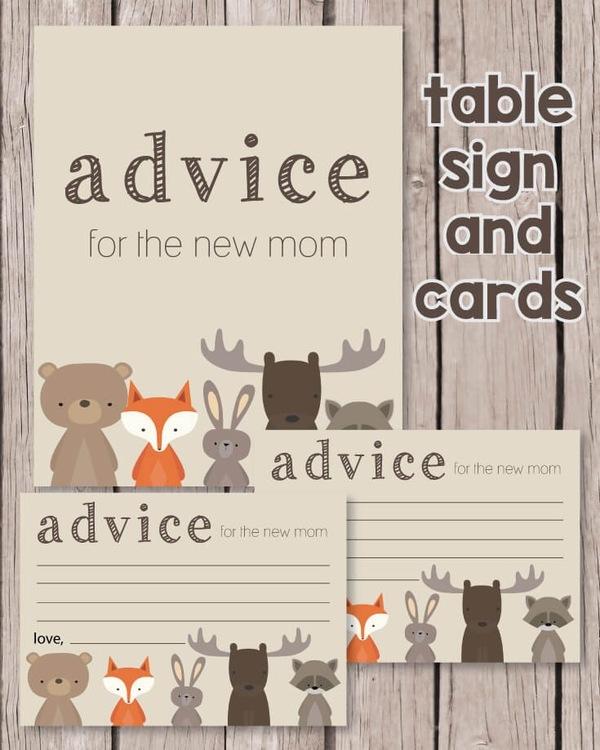 Printable woodland animals baby shower advice cards
