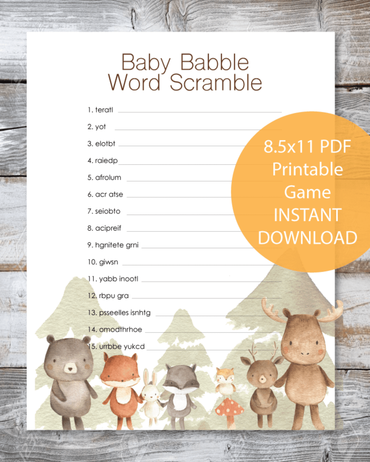 BABY BABBLE BABY SHOWER UNSCRAMBLE GAME