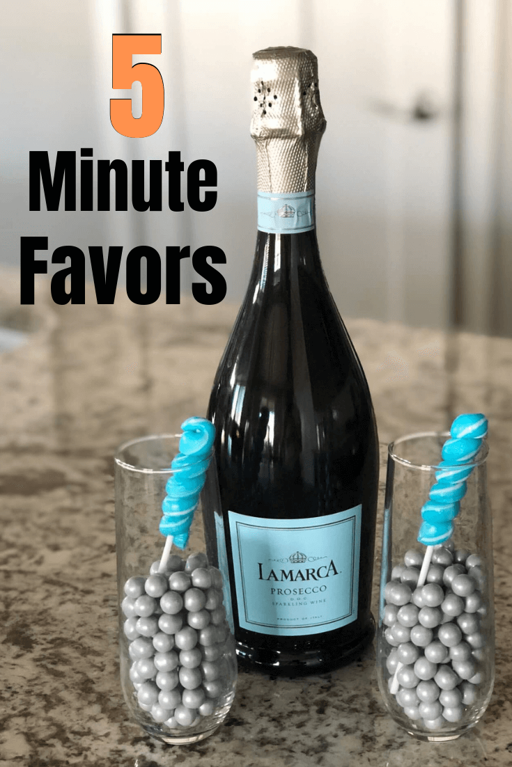 5 minute Champagne favors