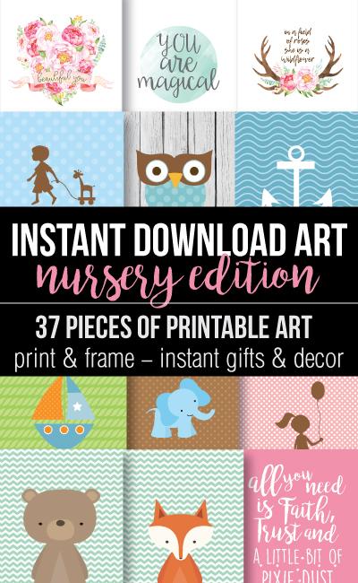 printable baby shower nursery wall art banner