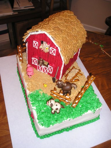 picture of red barn farm animal cake