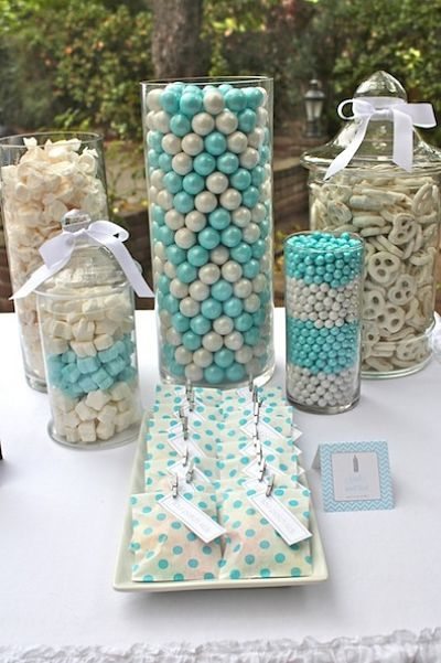 picture of blue and white candy buffet
