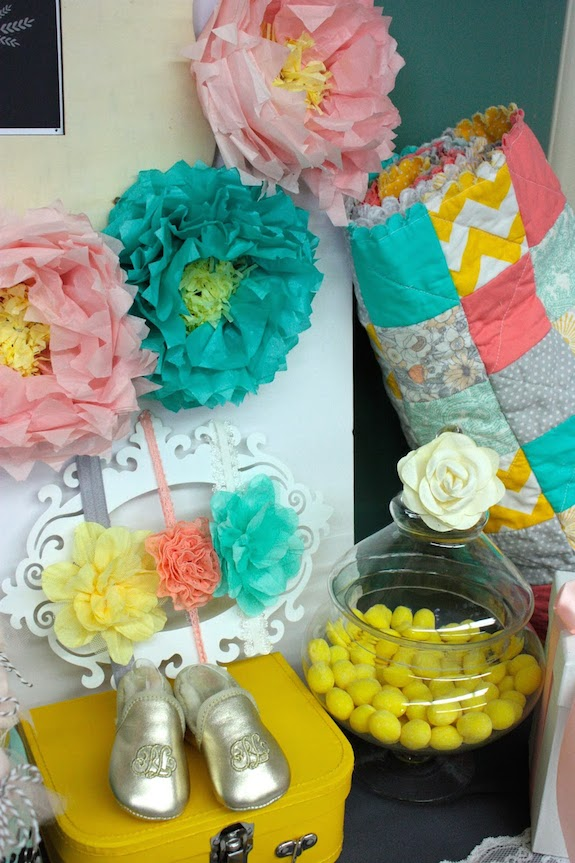 yellow, peach and teal baby shower picture