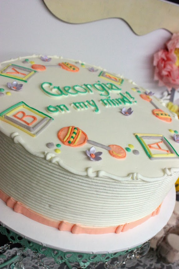 peach baby shower cake picture