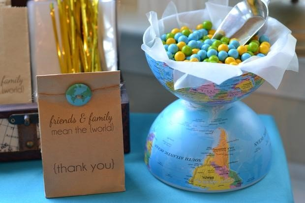 Image of a Welcome To The World globe candy bowl