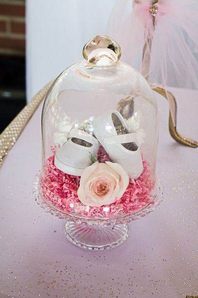 Baby Shower Centerpiece Pink Cake Stand With Baby Shoes