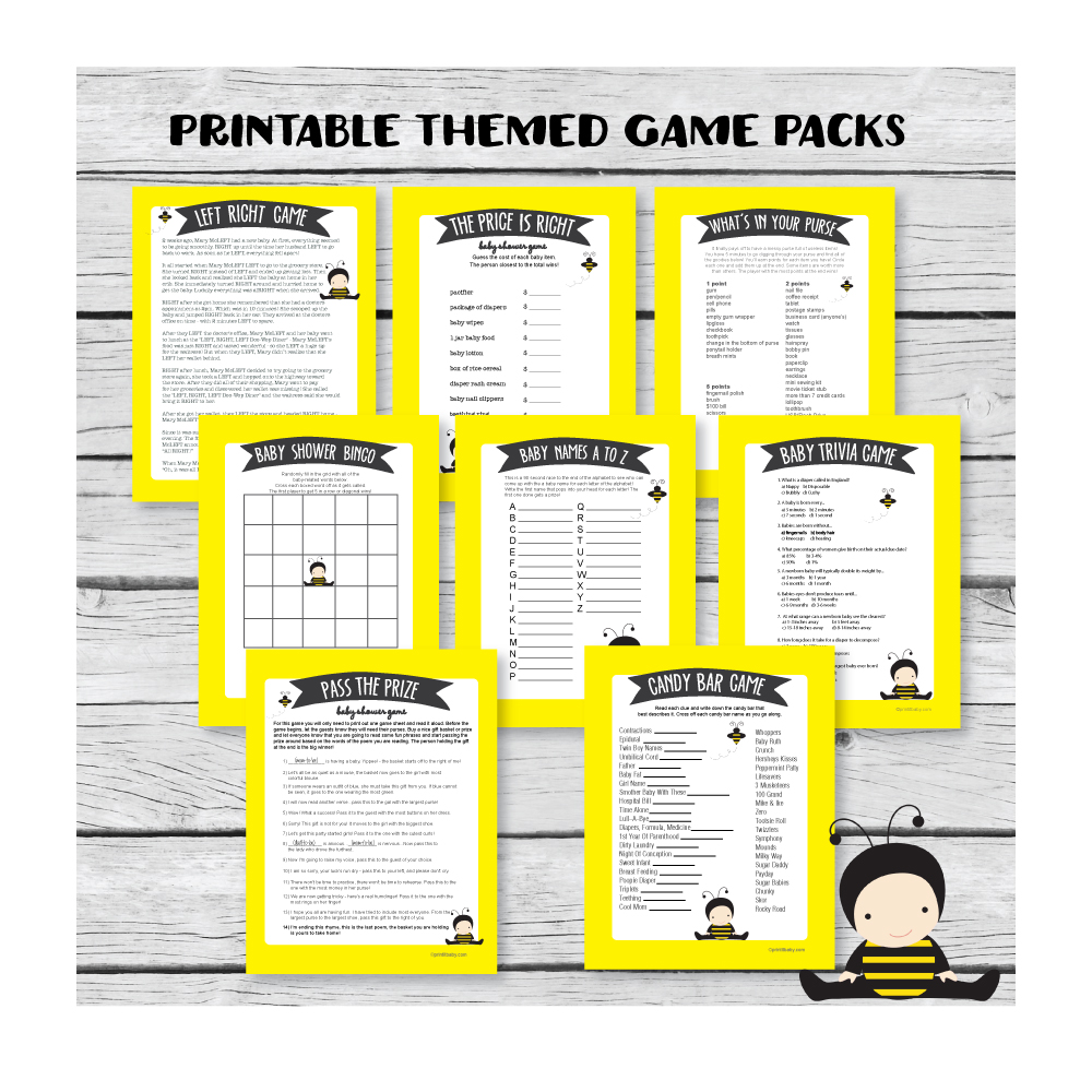 yellow baby shower games banner