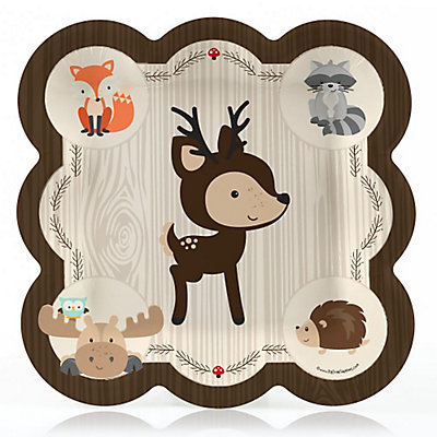 picture of woodland baby shower plate