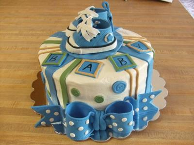 image of blue converse baby shower cake