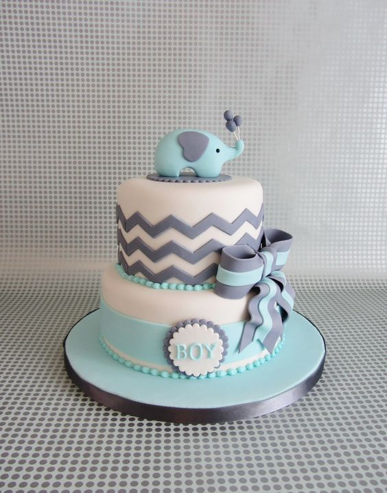 image of a blue elephant cake