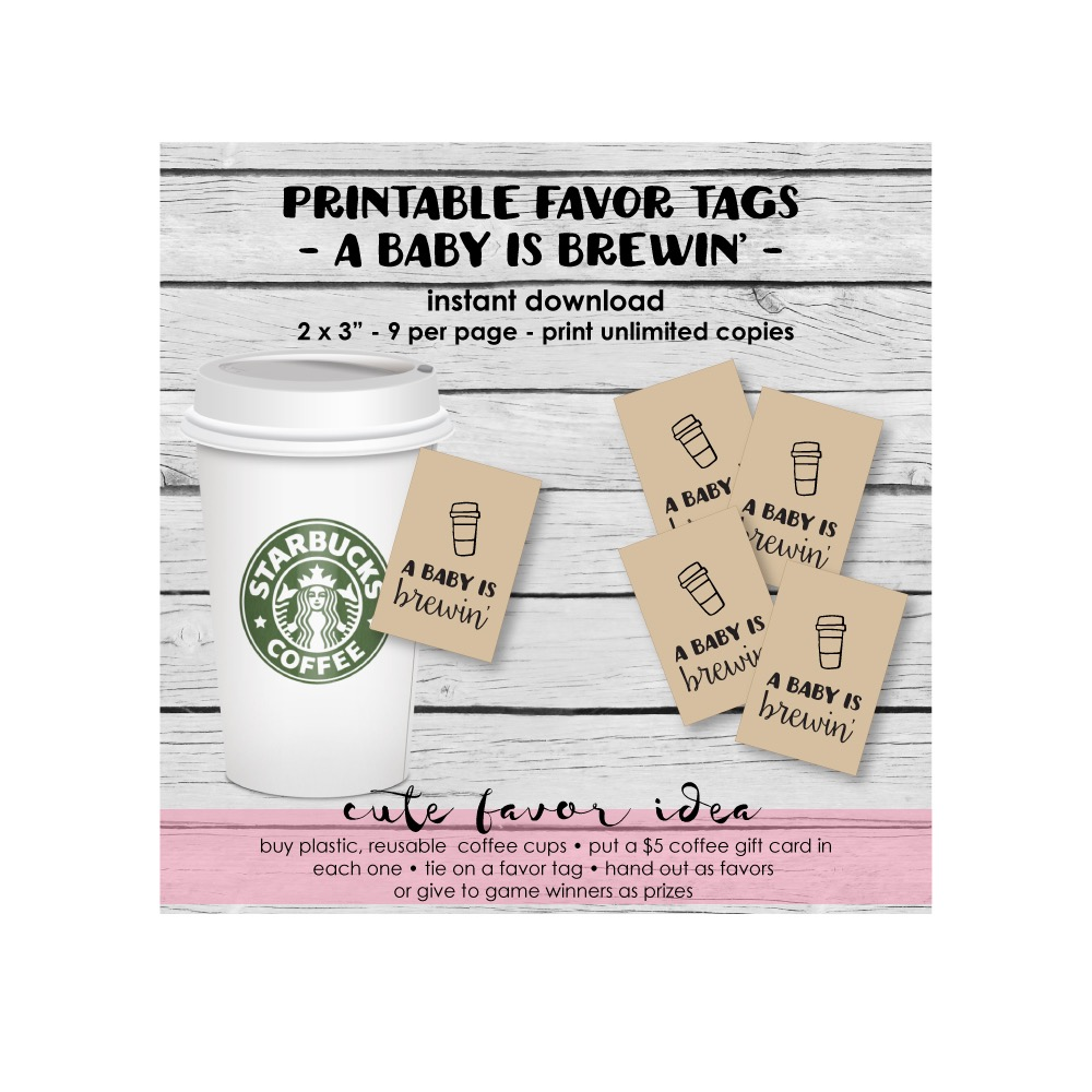 Picture of A Baby Is Brewin' Favor Tags For A Baby Shower