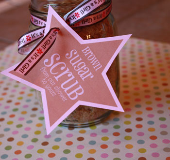 Baby shower party favor the secret to giving the perfect baby with free favor tags image of brown sugar scrub baby shower favors negle Image collections