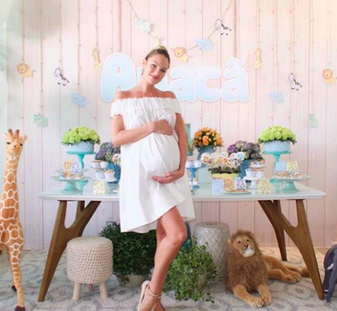 photo of supermodel, Candice Swanepoel at her jungle baby shower