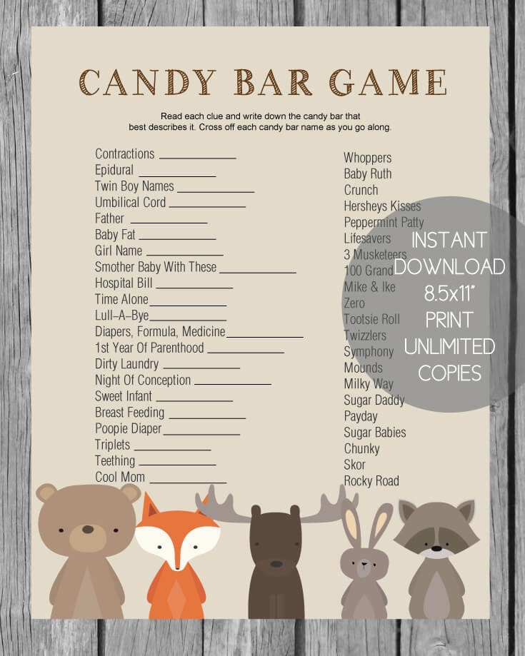 Printable Baby Shower Candy Bar Game Cutestbabyshowers Com