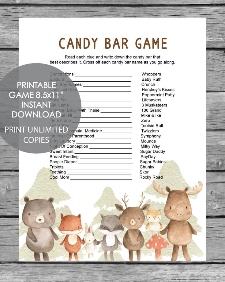 The Baby Shower Candy Bar Game